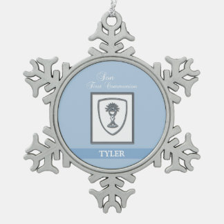 Son, First Communion Silver Chalice Snowflake Pewter Christmas Ornament