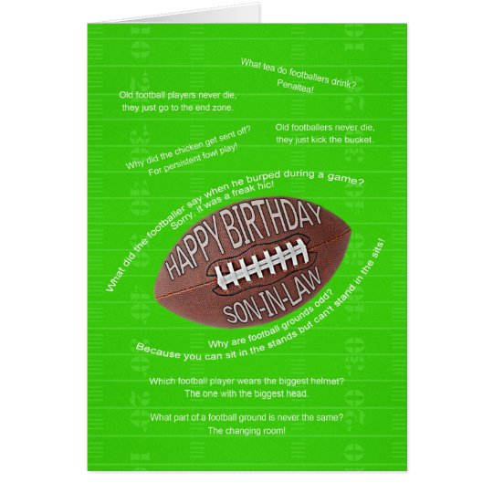 Son-in-law birthday, really bad football jokes card