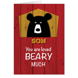 Son, Valentine Bear Wishes on Red Wood Grain Look Card