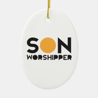 Son Worshipper Ceramic Oval Ornament