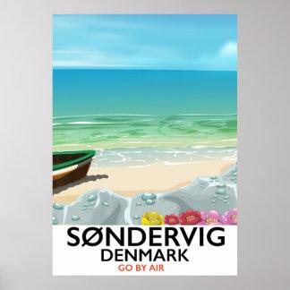 Søndervig Denmark beach travel poster