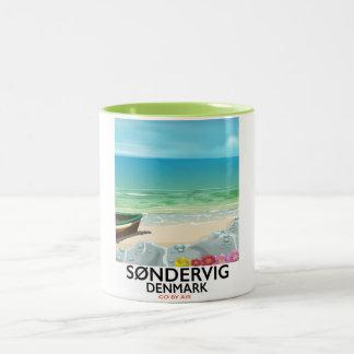 Søndervig Denmark beach travel poster Two-Tone Coffee Mug