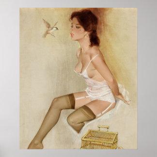Song Bird, Brown & Bigelow 1973 Pin Up Art Poster