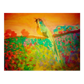 Song Bird in Watercolor Postcard