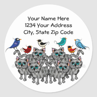 Song Birds & Cats Classic Round Sticker