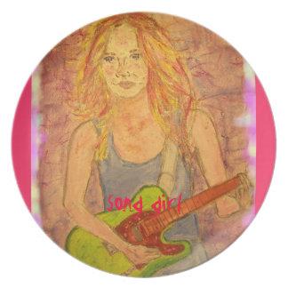song girl art dinner plate