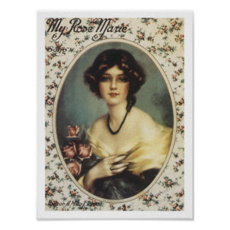 Song My Rose Marie Vintage Music Sheet Cover Poster