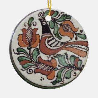 Song of Life - Folk Art Bird Round Ceramic Ornament