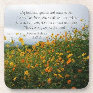 Song of Solomon 2:10-12, Bible Verse, Flowers Coaster
