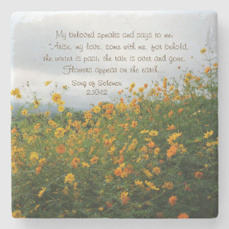 Song of Solomon 2:10-12, Bible Verse, Flowers Stone Coaster