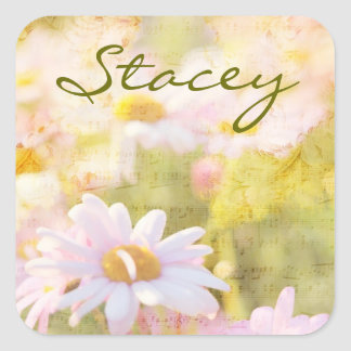 Song of Spring I - Lovely Pale Pink Daisies Asters Square Sticker