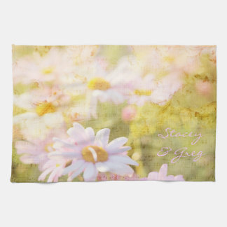 Song of Spring Lovely Pale Pink Daisies Asters Kitchen Towel