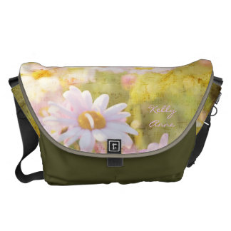Song of Spring Lovely Pale Pink Daisies Asters Messenger Bags