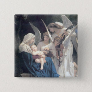 Song of the angels antique painting baby religion 2 inch square button