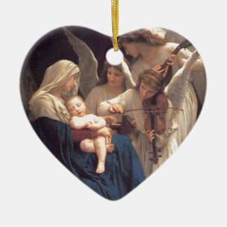 Song of the Angels - William-Adolphe Bouguereau Ceramic Heart Ornament