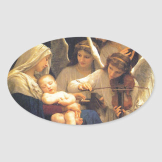 Song of the Angels, William-Adolphe Bouguereau Oval Sticker