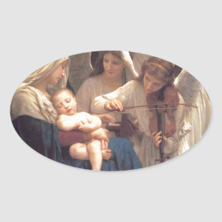 Song of the Angels - William-Adolphe Bouguereau Oval Sticker