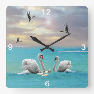 Song Of The White Swan, Square Wall Clock