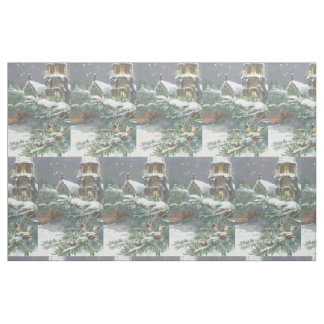 Songbird Evergreen Church Christian Cross Snow Fabric