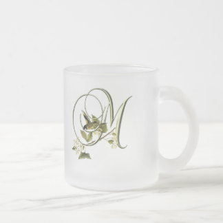 Songbird Initial M 10 Oz Frosted Glass Coffee Mug