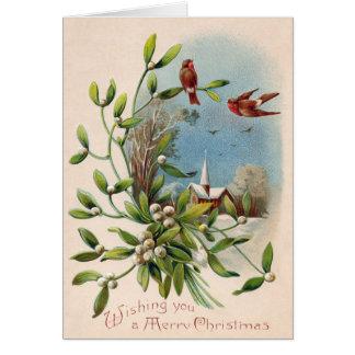 Songbird Mistletoe Church Christian Cross Greeting Card