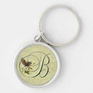Songbird Monogram B Silver-Colored Round Keychain