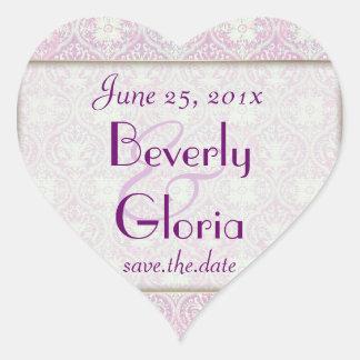 Songbird Shabby Chic WEDDING Save The Date Heart Sticker