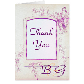 Songbird Shabby Chic WEDDING Thank-You Card