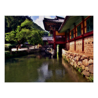 Songgwangsa Temple Bridge, South Korea Poster