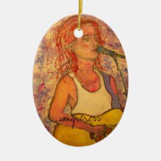 songstress art design ceramic oval ornament