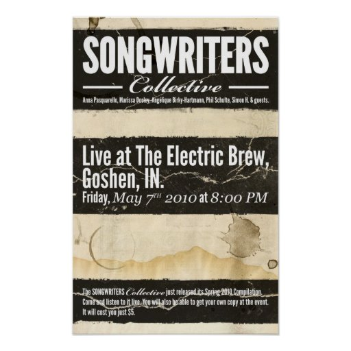 Songwriters Collective - May 7th 2010 show Print