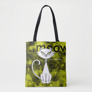 Sonia the green eyes bling cat. Grunge background Tote Bag