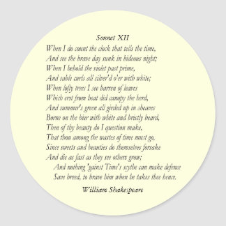 Sonnet # 12 by William Shakespeare Sticker