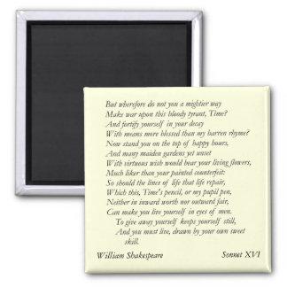 Sonnet # 16 par William Shakespeare Magnet Carré