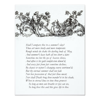 "Sonnet # 18 by William Shakespeare 4.25"" X 5.5"" Invitation Card"