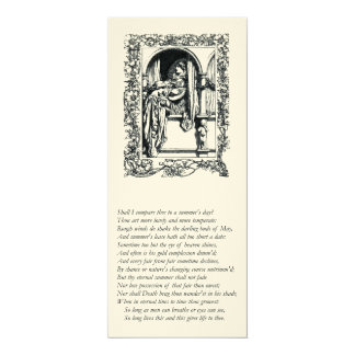 """Sonnet # 18 by William Shakespeare 4"""" X 9.25"""" Invitation Card"""