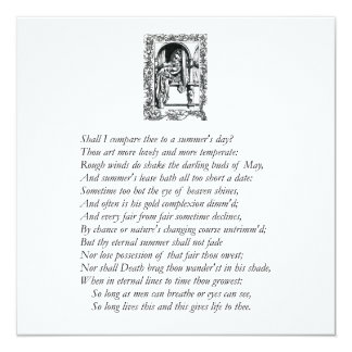 """Sonnet # 18 by William Shakespeare 5.25"""" Square Invitation Card"""