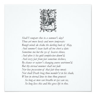 "Sonnet # 18 by William Shakespeare 5.25"" Square Invitation Card"