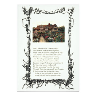 """Sonnet # 18 by William Shakespeare 5"""" X 7"""" Invitation Card"""
