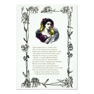 "Sonnet # 18 by William Shakespeare 5"" X 7"" Invitation Card"
