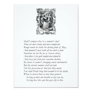 """Sonnet # 18 by William Shakespeare 4.25"""" X 5.5"""" Invitation Card"""