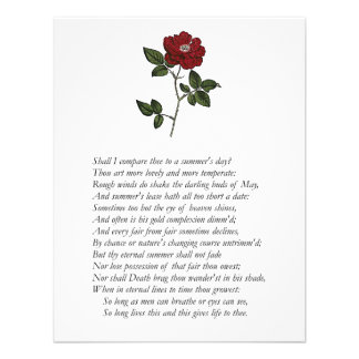 Sonnet # 18 by William Shakespeare Personalized Announcement