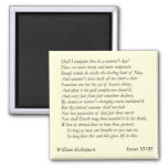 Sonnet # 18 by William Shakespeare Square Magnet