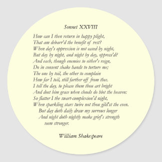 Sonnet # 28 by William Shakespeare Round Stickers