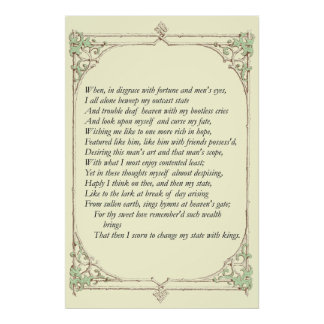 Sonnet # 29 by William Shakespeare Print