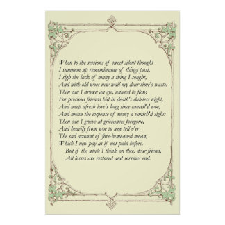Sonnet # 30 by William Shakespeare Poster
