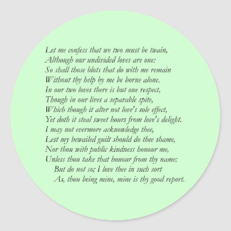 Sonnet Number 36 by William Shakespeare Stickers