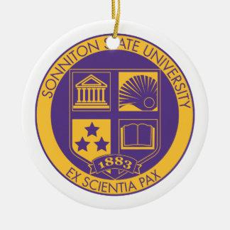 Sonniton State University Seal - Purple/Gold Ceramic Ornament