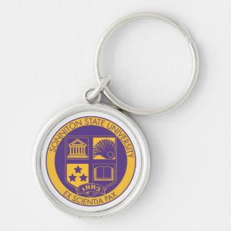 Sonniton State University Seal - Purple/Gold Silver-Colored Round Keychain