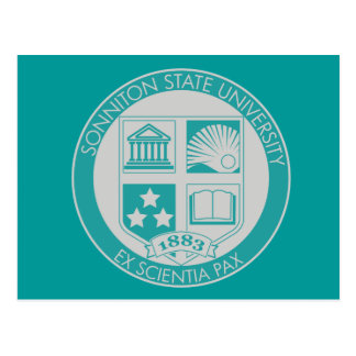 Sonniton State University Seal - Teal/Grey Postcard